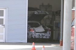 Audi A7 prototype parked in garage