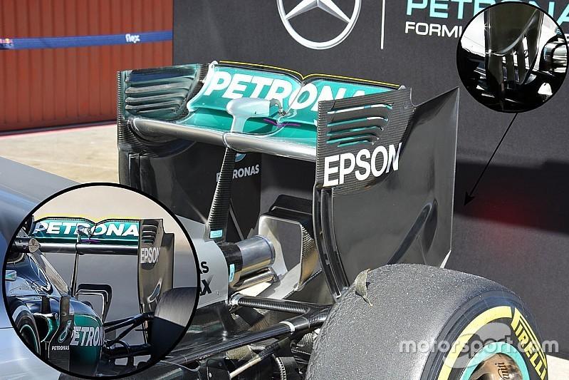 Mercedes AMG F1 W07 rear wing detail